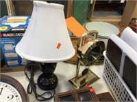 Clock & 16 inch lamp with shade