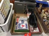 Playing cards, alarm clock & radio