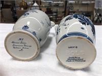 Pair Delft hand painted oil & vinegar jugs