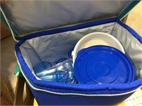 Soft sided cooler & assorted towels