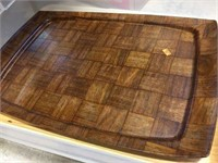 Wood cutting board, trays, tote with cover