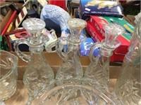 Glass pitchers, cruets & assorted