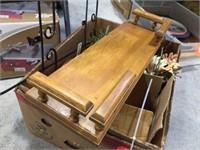 Wood shelf, copper decorators & assorted