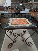 Antique  metal tile top table
