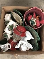 Box of misc Xmas dishes, planter pot, lantern