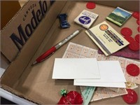 Match books, gold bond stamps & assorted