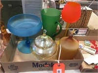 Glass pitcher, compote & covered candy dishes