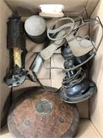 Box of misc vintage fan, jar, light