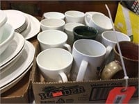 2 boxes of cups, bowls & assorted