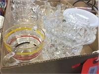 Glasses, creamer, sugar & assorted