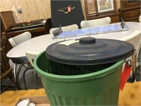 18 inch tall plastic garbage can & assorted
