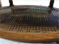 Oval beveled glass top table 42x29x16