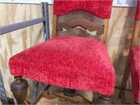 Set of 4 red upholstered wood framed chairs