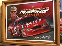 Framed Budweiser racing pictures