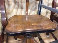 Wood desk chair on wheels