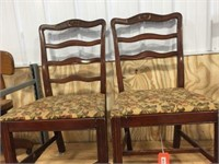 2 wood dining chairs