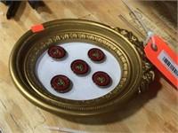 5 framed buttons