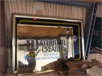 Waterford cream & Seagrams framed pictures