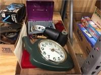Clock, gold stamp replica & assorted