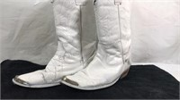 Cowboy Boots polished white 13 in from top of
