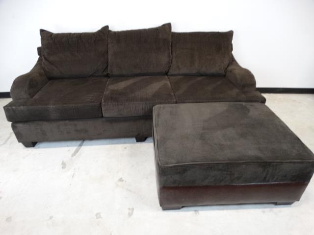 Wide Wale Brown Corduroy Sofa w/Matching Ottoman | LL ...