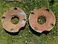 Vintage Pair of Red Tractor Rims Mccormick Farmall