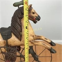 Vintage Carved Wooden Horse Tricycle