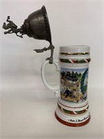 Large German Stein Lithophane With Pewter Lid