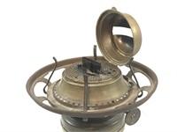 Antique Brass Hinged Burner Oil Lamp w/Chimney