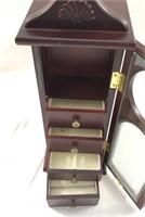 Wood Grandfather Clock Shaped Jewelry Stand