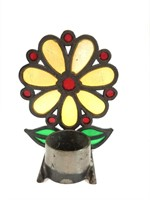 Vintage Flower Power Stained Glass Votive Candle