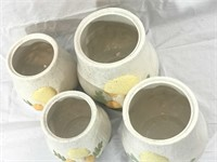 Vintage 4pc Arnels Ceramic Mushroom Canister Set