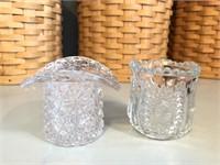 (2) Vintage Glass Toothpick Holders