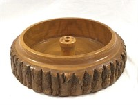 Wood Nut Bowl with Cracker and Pics