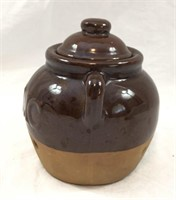 Brown Glazed Pottery Garlic Pot