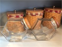 (2) Hexagon Clear Glass Canisters with Wood Lids