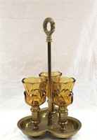 Vintage Brass Candelabra with Amber Cups