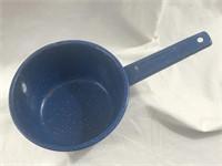 Vintage 6in Light Blue Speckled Enamel Dipper/Pot