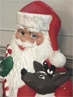 Vintage 40in TPI Santa w/Reindeer Blow Mold