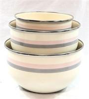 Set of 3 Matching Enamel Bowls