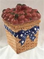 Vintage Ceramic Cookie Jar: Basket of Strawberries