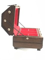 Vintage Wooden Treasure Chest Jewelry Box