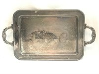 Vintage Silver Plated Serving Tray w/Feet