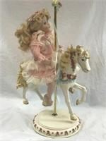 Porcelain Doll On Carousel Horse BEAUTIFUL!