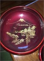 Asian Wood Salad Bowl Set