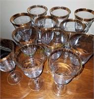 12 Shorter Gold Edged Glasses
