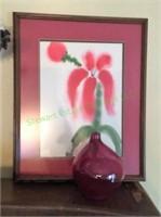 Flower Artwork And 18k Pink Vase