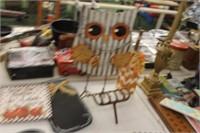 Lot of Hanging Decor,Metal Owl,Rake Decor