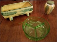 Green Glass And Vase