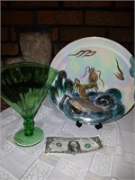 Asian Style Plate And Fan Vase